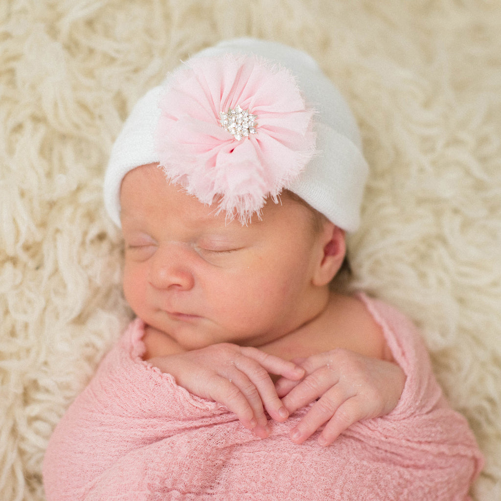 White Nursery Hat with Pink Frayed Flower Newborn Girl Hospital Hat - White Hat