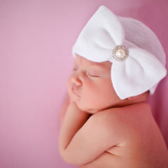 Pearl and Rhinestone White Nursery Big Bow Newborn Girl Hospital Hat - White icon
