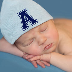 Blue Hat with Royal Blue Collegiate Letter Initial Newborn Boy Hospital Hat icon