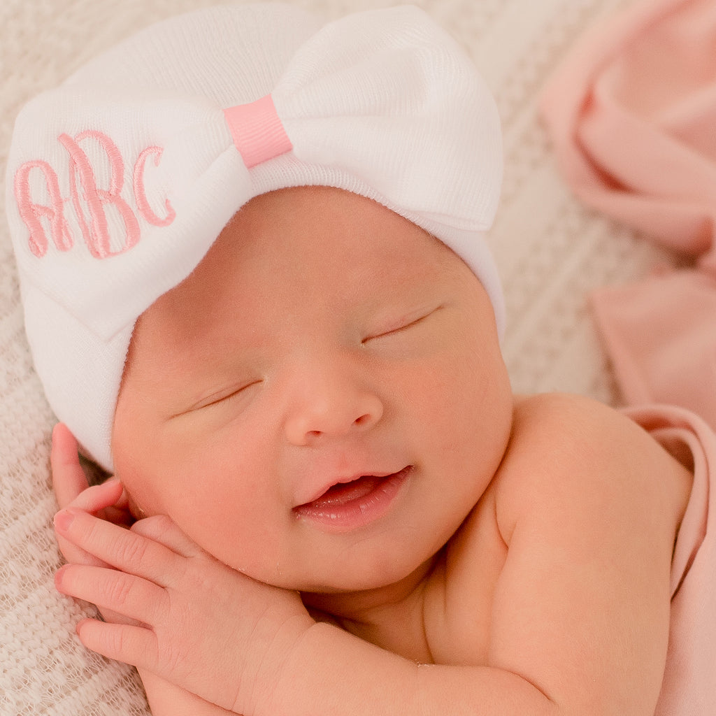 Sweet Candy Monogrammed Bow Nursery Newborn GIRL hospital hat- White Hat with Pink Ribbon