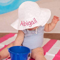 PERSONALIZED White Wide Brim Sun Protective Baby and Toddler Sun Hat for Girls - Personalization Option icon