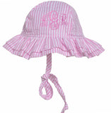 Monogrammed Pink and White Seersucker Double Ruffle Brim Baby Sun Hat
