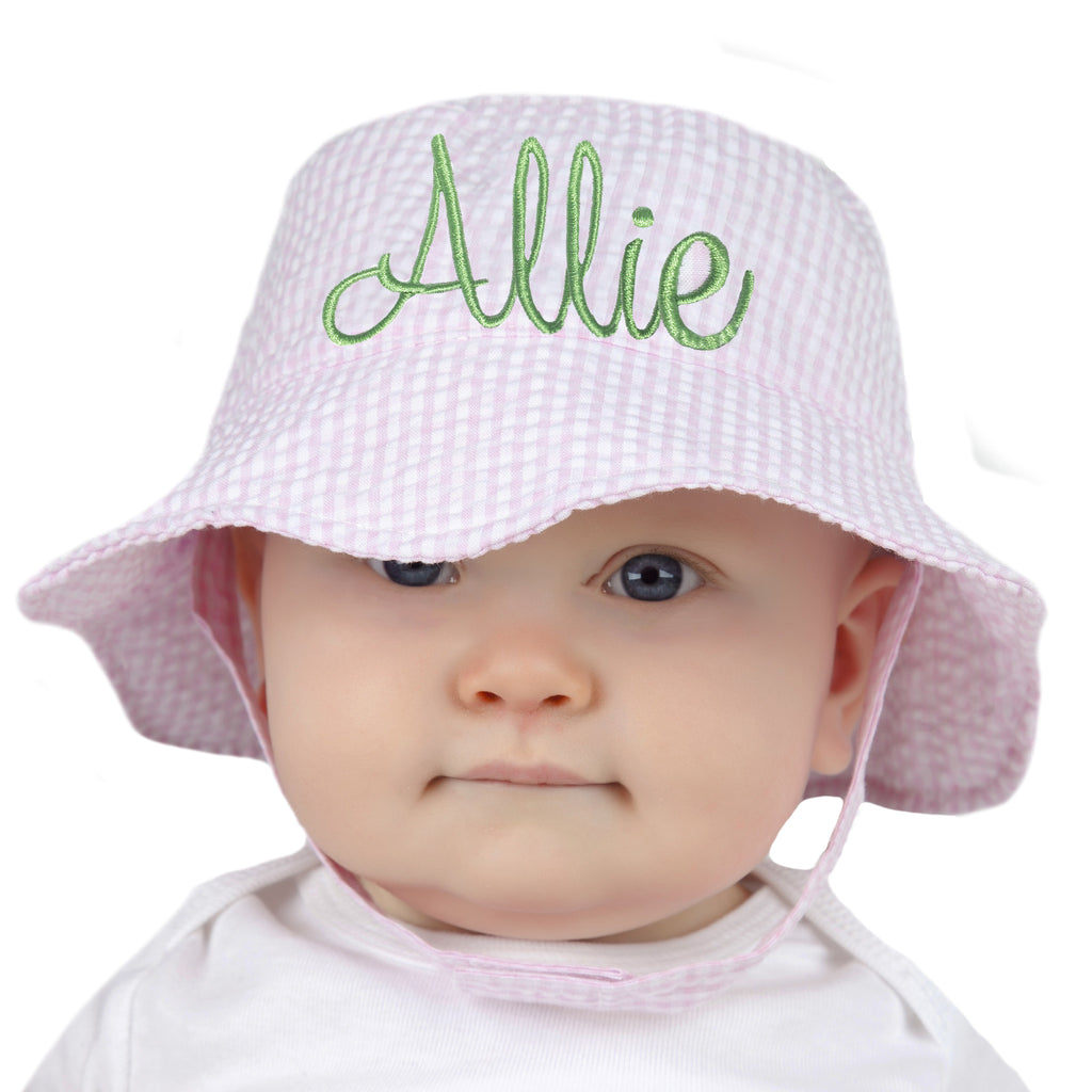 Pink & White Seersucker Personalized Sun Hat for Baby and Toddler Girls