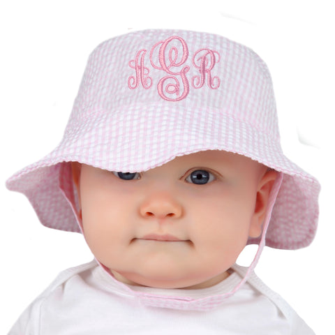 Monogrammed Pink & White Seersucker Personalized Sun Hat for Baby and Toddler Girls