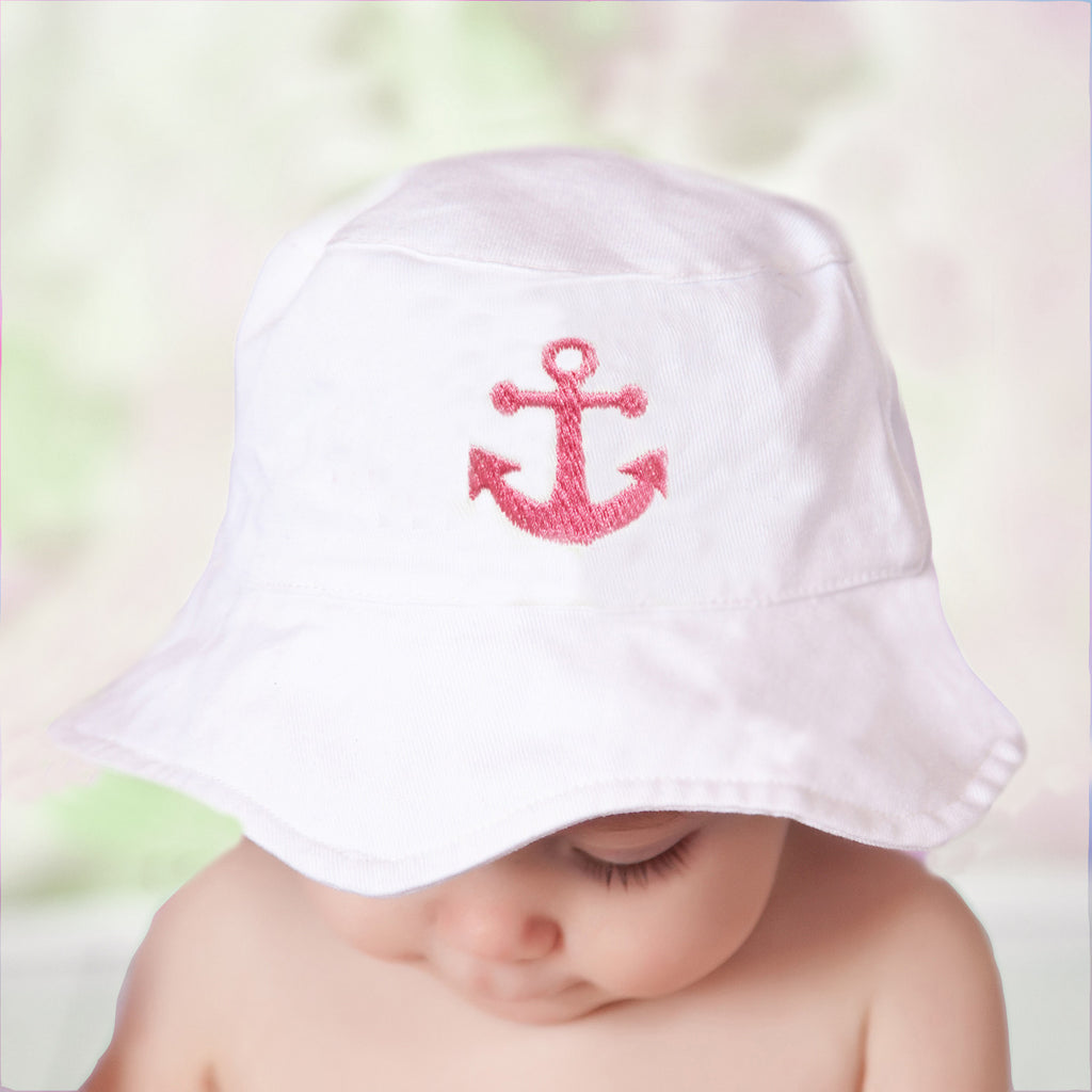 Pink Nautical Anchor White Sun Hat for Baby and Toddler Girls