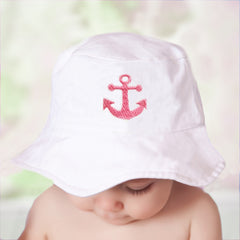 Pink Nautical Anchor White Sun Hat for Baby and Toddler Girls icon