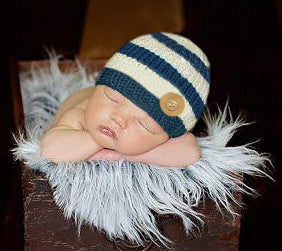 Chunky Sailor Wooden Button Baby Boy Hat