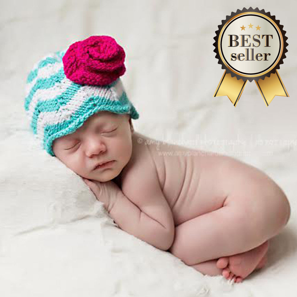 Classy Chevron with Pink Flower Newborn Girl Beanie