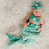 Shell and Star Blue Mermaid 3 Piece SET - Headband, Bikini Shell Top and Mermaid Tail - Photography Prop for Newborn Girls