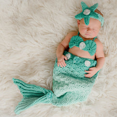 Shell and Star Blue Mermaid 3 Piece SET - Headband, Bikini Shell Top and Mermaid Tail - Photography Prop for Newborn Girls icon