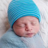 Mixed Blues Striped Newborn Boy Hospital Hat