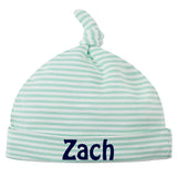 100% Organic Aqua and White Striped Knot Baby Beanie Personalized - Baby Boys