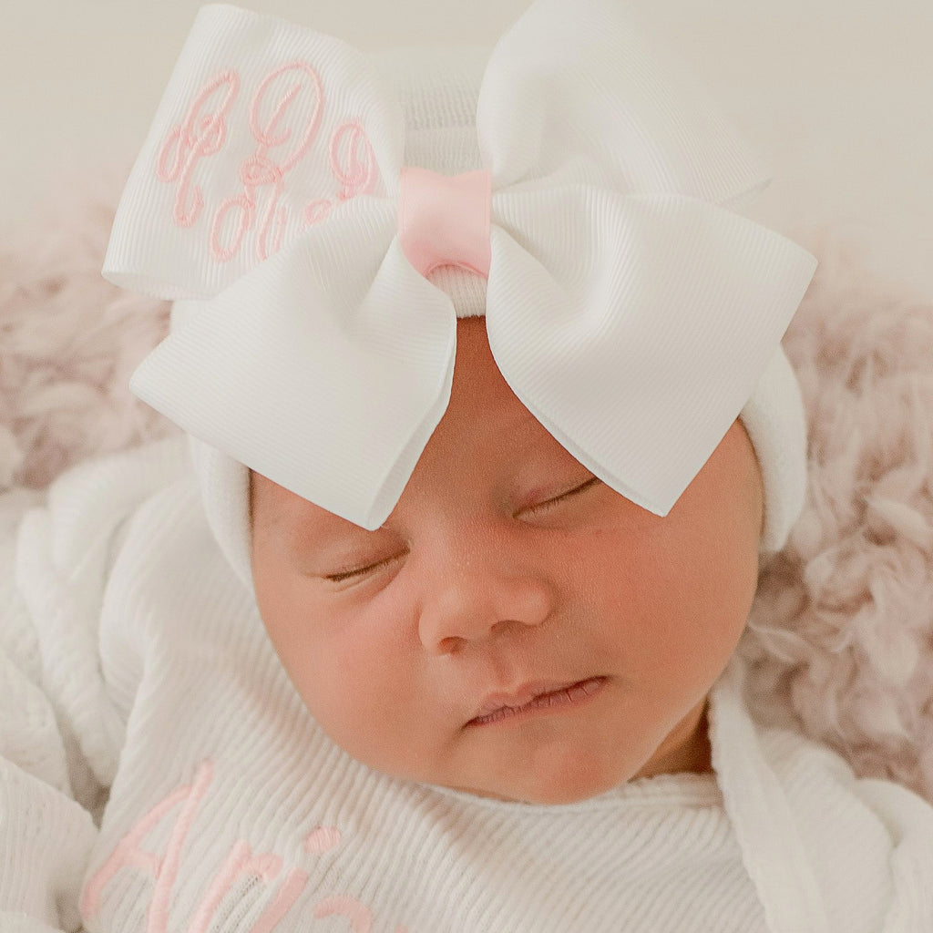 Monogrammed White Ribbon Bow on White Hat Monogrammed Bow with Light Pink Center
