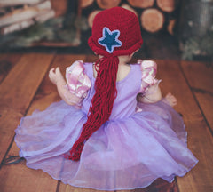 Mermaid with Side Pony Tail and Star Ariel Inspired Hat - Red Long Hair Crochet icon