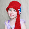 Mermaid with Side Pony Tail and Star Ariel Inspired Hat - Red Long Hair Crochet