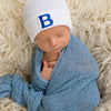Blue Collegiate Letter Patch Newborn Boy Hospital Hat