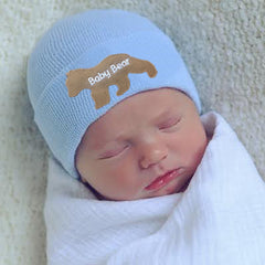 BLUE or White Baby Bear Newborn Boy Hospital Hat - White (or BLUE) Hat - Newborn Boy Hat - Baby Bear Hat icon