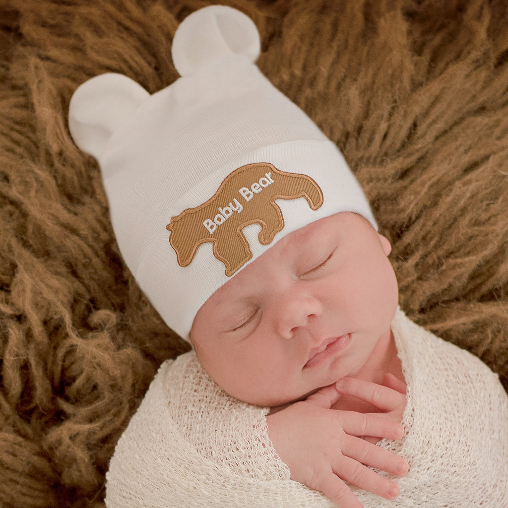 Blue, White or Tan Baby Bear with Baby Bear Patch Newborn Boy or Girl Hospital Hat - Gender Neutral