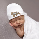 Baby Bear Newborn Boy Hospital Hat - White (or BLUE) Hat - Newborn Boy Hat - Baby Bear Hat