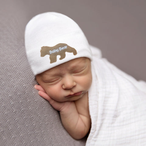 358041c676c19 Baby Bear Newborn Boy Hospital Hat - White (or BLUE) Hat - Newborn ...