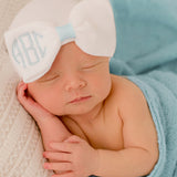 Baby Blue and White Bow with Baby Blue Center Monogrammed Initials Nursery Newborn GIRL hospital hat