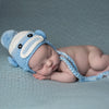 Shades of Blue and Baby Boy Sock Monkey Hat