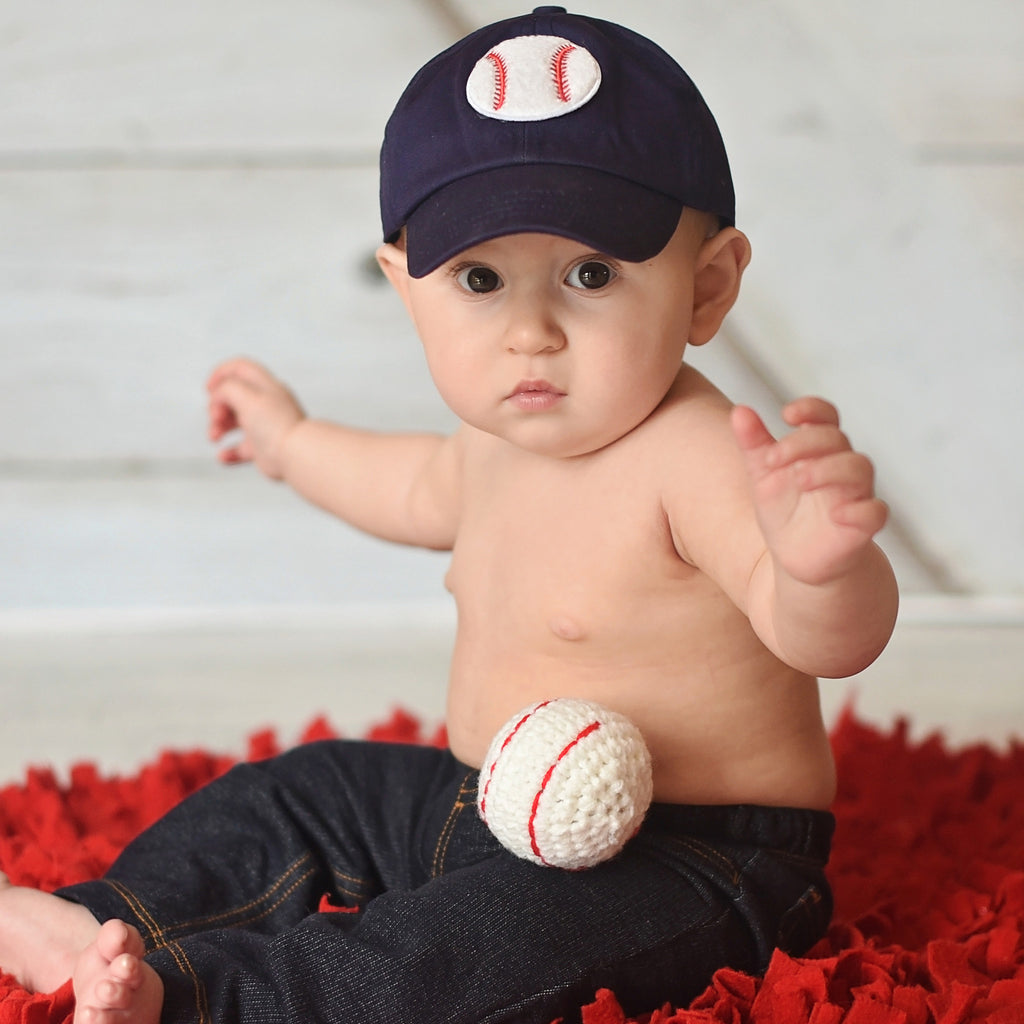 Navy Blue Baseball Cap with Chenille Baseball Patch for Baby and Toddler Boys