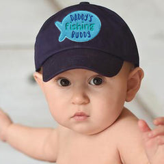 Daddy's Fishing Buddy Navy Blue Baseball Cap for Baby and Toddler Boys icon