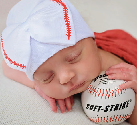 Softball Sweetie Newborn Girl Bow Hospital Hat