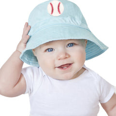 Blue Baseball Patch Bucket Sun Hat for Baby and Toddler BOYS icon