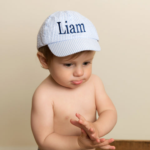 Blue Seersucker Baseball Hat for Baby and Toddler Boys - PERSONALIZED