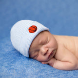 Striped Blue and White Basketball Newborn Boy Hospital Hat
