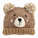 White or Brown Bear with Pom Pom Ears - Gender Neutral Knit Hat- Toddler 2T-5 years