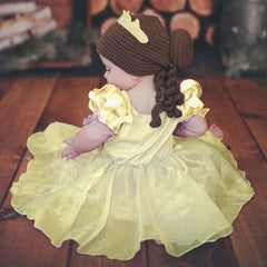 Baby Beauty Belle Inspired Hat - Brunette Curls, Bun and Yellow Crown icon