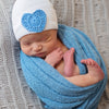 BIG BLUE Crochet Heart Newborn Boy White Hospital Hat