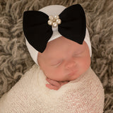 Audrey Black Bow with Pearl Flower Gem Newborn Girl Hospital Hat - Newborn Girl Hat