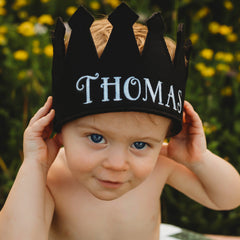 Black Personalized Felt Crown Baby and Toddler Boys (more colors available) icon