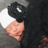 White Hat with Chic Layered Black Silk Flower with Pearl Rhinestone Center Newborn Girl Hospital Hat