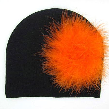 Black Cat Hat with Orange Feather Poof Baby Girl Hat
