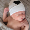 Black Felt Heart Applique on Solid White Baby Hat Neutral Newborn Hospital Hat