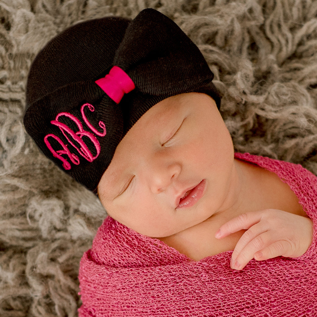 Black and Bright Pink Girl Hospital Hat Bow with Monogrammed Initials Nursery Newborn GIRL hospital hat