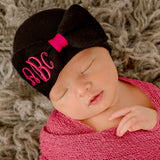Black and Hot Pink Girl Hospital Hat Bow with Monogrammed Initials Nursery Newborn GIRL hospital hat