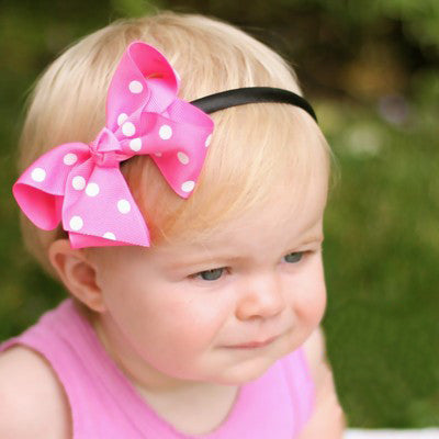 Pretty Polka Dot Baby Hard Headband and Removable Bow Clip