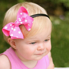 Pretty Polka Dot Baby Hard Headband and Removable Bow Clip icon
