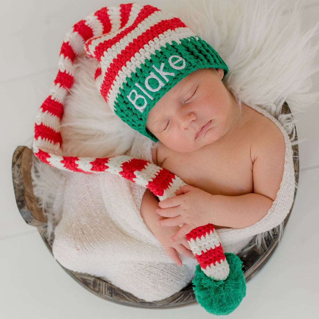 Personalized Christmas Baby Elf Crochet Stocking Hat