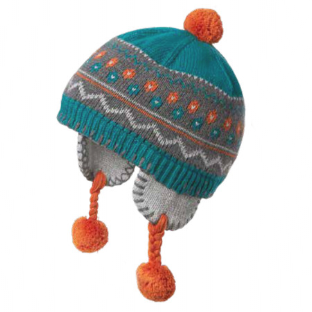 Peruvian Blue and Orange Baby Boy Beanie  - Fully Cotton Lined with ear flaps