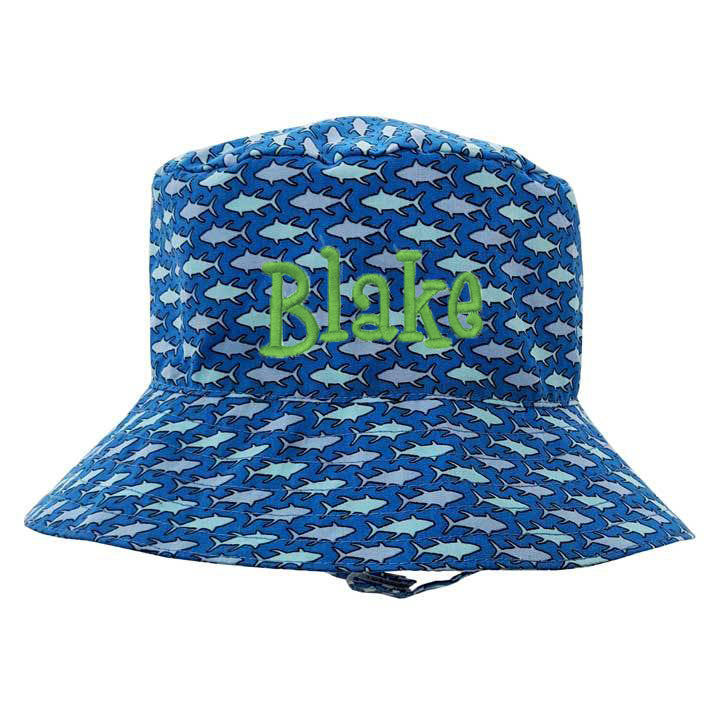 Blue Shark Print Sun Hat for Baby Boys - Option for Personalization