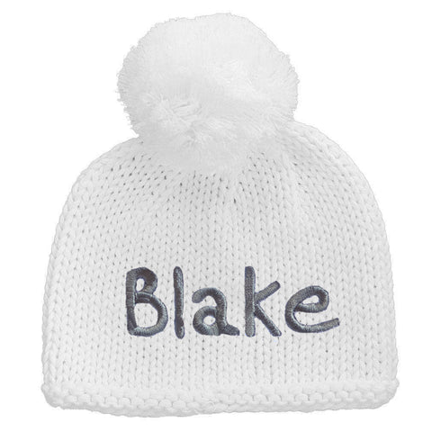 Personalized White Knit Newborn Hat with White Pom Pom Newborn Gender Neutral Beanie