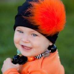 Black Cat Hat with Orange Feather Poof Baby Girl Hat icon
