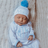 Monogrammed Blue and White Seersucker Trim Gown with Personalized Pom Pom Newborn Hat